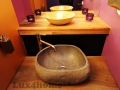 river stone sink bathroom - stone washbasin